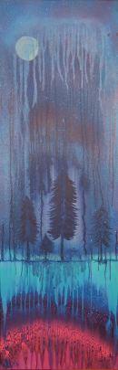 """""""Dämmerung"""", 40x120, Acryl, Pastell und Marker auf Leinwand, Preis auf Anfrage"""