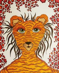 """""""Meine Tigerin Lea inkognito"""", 40.6x50.8, diverse Marker auf Papier, Preis auf Anfrage."""