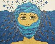 """""""Sprachlos in Blau"""", 40.6x50.8, diverse Marker auf Papier, Preis auf Anfrage."""