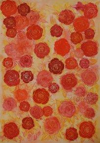"""""""Rosen"""", 70x100, diverse Marker auf Papier, Preis auf Anfrage."""