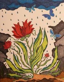 """""""Frühling"""", 50x65, diverse Marker auf Papier, Preis auf Anfrage."""