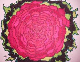 """""""Tiefes Rot"""", 50x65, diverse Marker auf Papier, Preis auf Anfrage."""