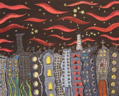 """""""Anders Stadt 2"""", 40.6x50.8, diverse Marker auf Papier, Preis auf Anfrage."""