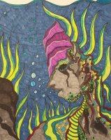 """""""Versteinert im Meer"""", 40.6x50.8, diverse Marker auf Papier, Preis auf Anfrage."""