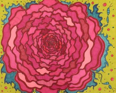 """""""Erblüht"""", 40.6x50.8, diverse Marker auf Papier, Preis auf Anfrage."""