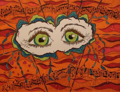 """""""Musikalischer Moment"""", 50x65, diverse Marker auf Papier, Preis auf Anfrage."""