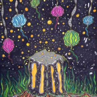 """""""Buntes Leuchten"""", 42x59.2, diverse Profi-Künstlerstifte auf hochwertigem Papier, Preis auf Anfrage."""