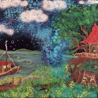 """""""Unterm Horizont"""", 2x50x60, Acrylfarbe, Acrylstifte, Acrylspray, Glitzerfarbe und Streuglitzer auf schwarzer Leinwand , Preis auf Anfrage."""