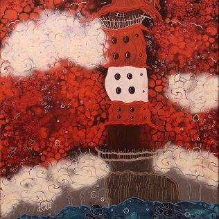 """Ein Stück Heimat 2"", 60x80, Acrylfarbe, Acrylstifte, Acrylspray, Glitzerfarbe und Streuglitzer auf schwarzer Leinwand , Preis auf Anfrage."