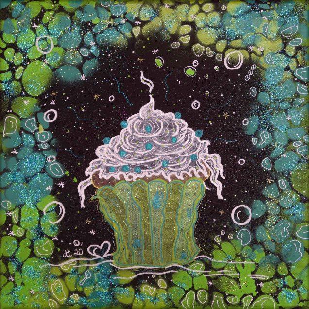 """""""Die KLEINEN Feinen grün"""", 30x30, Acrylfarbe, Acrylstifte, Acrylspray, Glitzerfarbe und Streuglitzer auf schwarzer Leinwand , Preis auf Anfrage."""