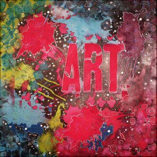 """""""ART-treu"""", 40x40, Acrylfarbe, Acrylstifte, Acrylspray, Glitzerfarbe und Streuglitzer auf schwarzer Leinwand , Preis auf Anfrage."""