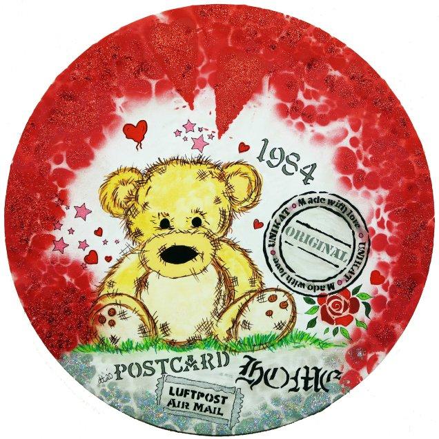 """""""Der kleine Bär von Anderswo"""", 50 Durchmesser, Acrylfarbe, Acrylstifte, Acrylspray, Glitzerfarbe und Streuglitzer auf schwarzer Leinwand , Preis auf Anfrage."""