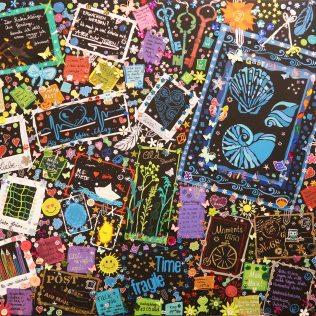"""""""EIN GANZES LEBEN 3"""", 80x100, Acrylfarbe, Acrylstifte, Acrylspray, Glitzerfarbe und Streuglitzer auf schwarzer Leinwand, Preis auf Anfrage."""