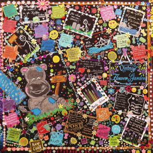 """""""EIN GANZES LEBEN 4"""", 80x100, Acrylfarbe, Acrylstifte, Acrylspray, Glitzerfarbe und Streuglitzer auf schwarzer Leinwand, Preis auf Anfrage."""