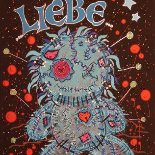 """ESVBM Liebe"", 40x30, Acrylfarbe, Acrylstifte, Acrylspray, Glitzerfarbe und Streuglitzer auf schwarzer Malpappe, Preis auf Anfrage."