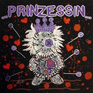 """""""ESVBM Prinzessin"""", 20x20, Acrylfarbe, Acrylstifte, Acrylspray, Glitzerfarbe und Streuglitzer auf schwarzer Malpappe, Preis auf Anfrage."""