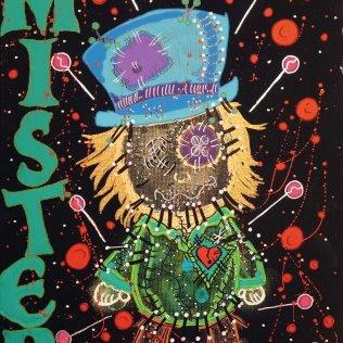 """ESVBM Mister"", 30x24, Acrylfarbe, Acrylstifte, Acrylspray, Glitzerfarbe und Streuglitzer auf schwarzer Malpappe, Preis auf Anfrage."